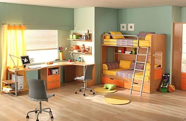 Стол для двоих детей с угловой столешницей