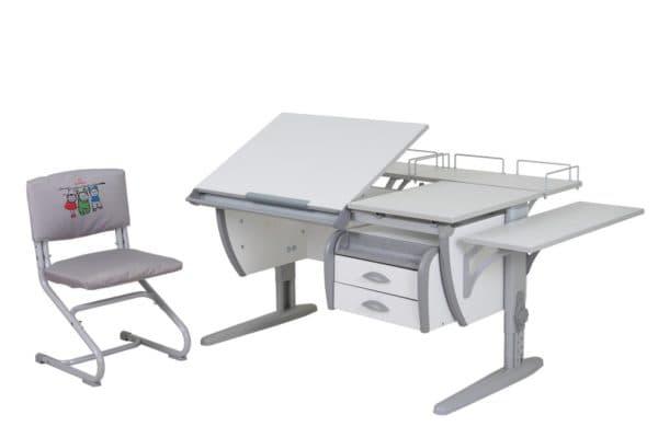 серый стол трансформер со стулом