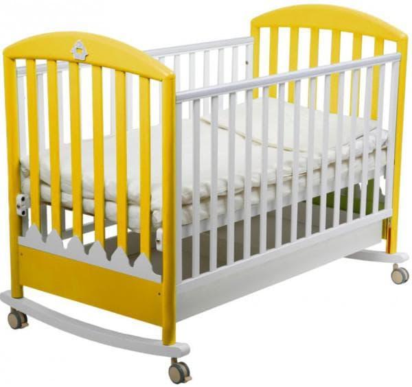 Кроватка Папалони бело-желтая