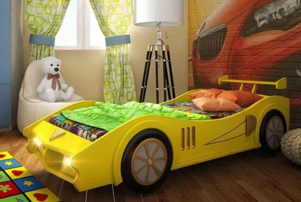 желтая кровать машина для подростка