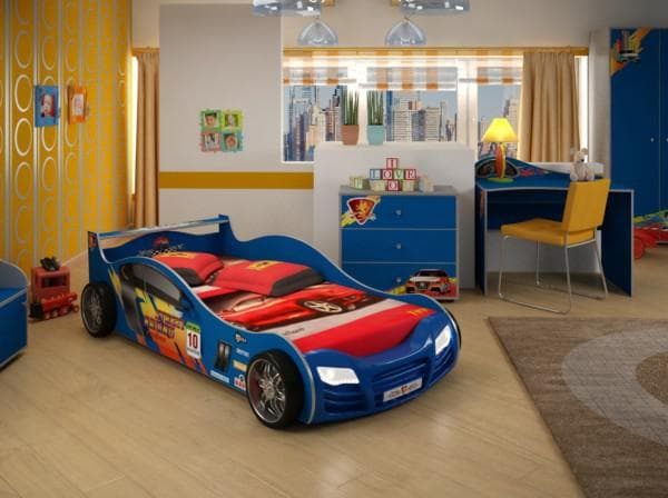 синяя кроватка машинка для школьника