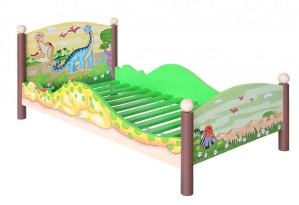 Кровать с бортиками и нарисованными динозаврами