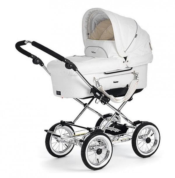Белая коляска для новорожденных