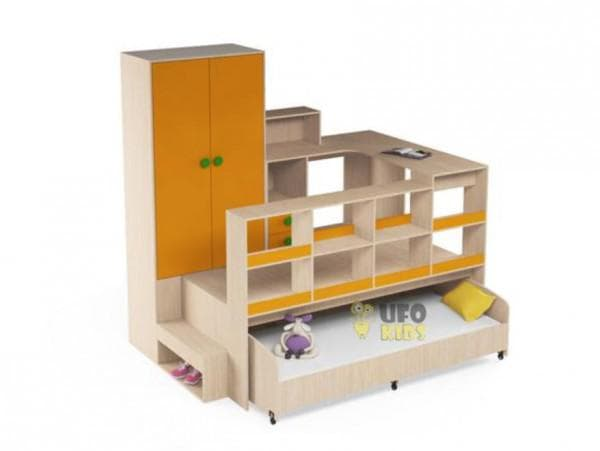 Кровать выкатная со шкафом и письменным столом
