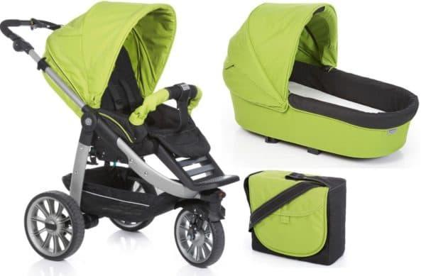 Трехколесная коляска для новорожденного зеленого цвета