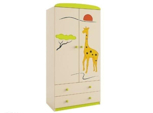 Детский двустворчатый шкаф с ящиками