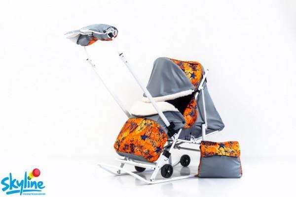 Санки коляска детская с перекидной ручкой