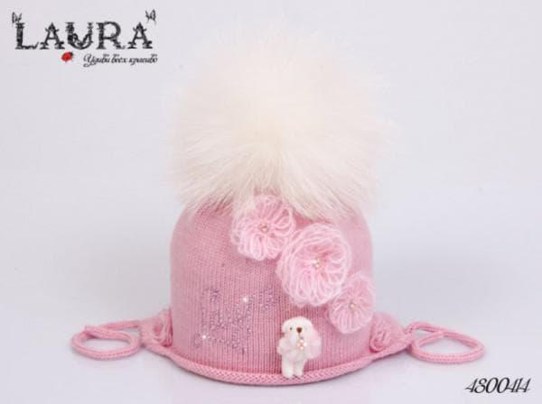 Вязанные шапки для девочек с помпоном