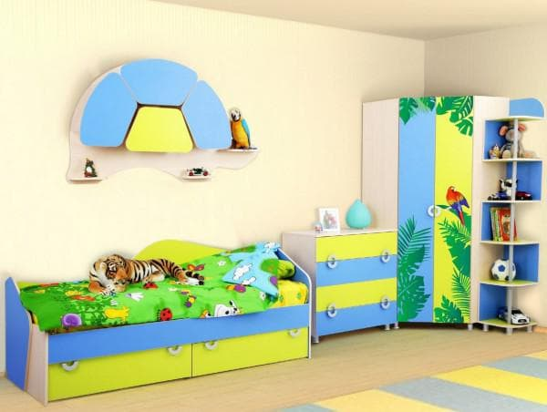 Детский угловой шкаф разноцветный