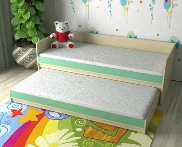 Кровать выдвижная для двоих детей низкая