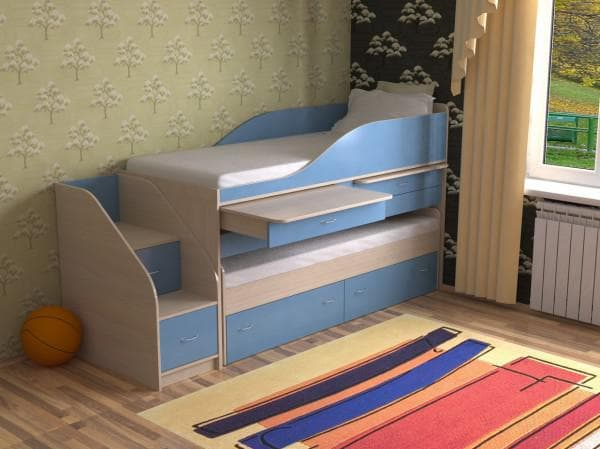 Кровать двухъярусная выкатная со столиком