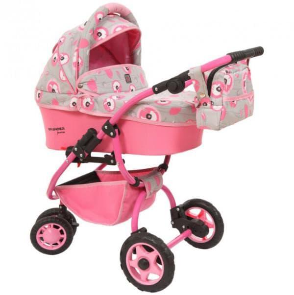 Розовая коляска для кукол с люлькой