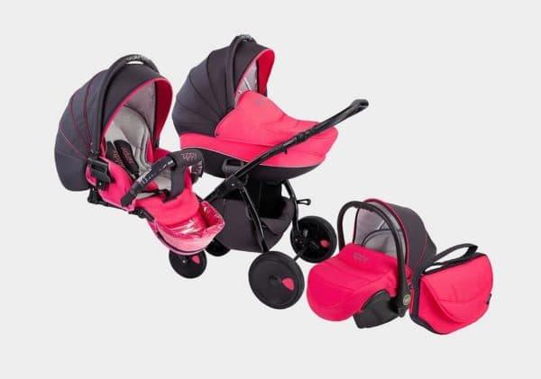 Розовая коляска 3 в 1 для девочки