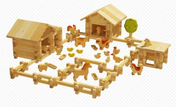 деревянный конструктор для детей ферма