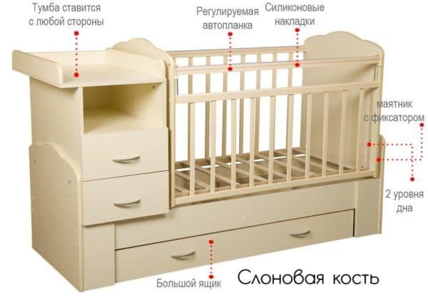 Как устроена кровать трансформер для новорожденного