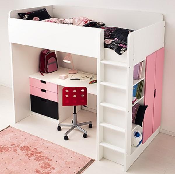 двухъярусная кровать ИКЕА розовая