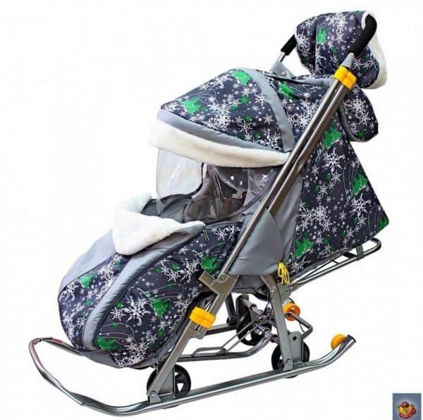 Модные санки коляска на зиму с сумкой и колесиками