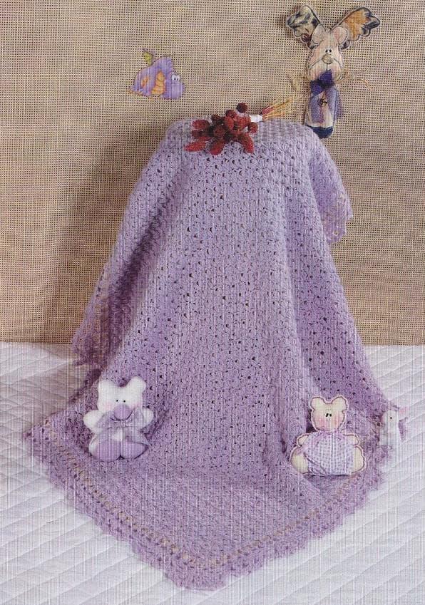 Сиреневое вязанное одеяло для новорожденного