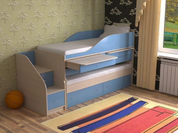 Кровать двухъярусная выкатная со столами
