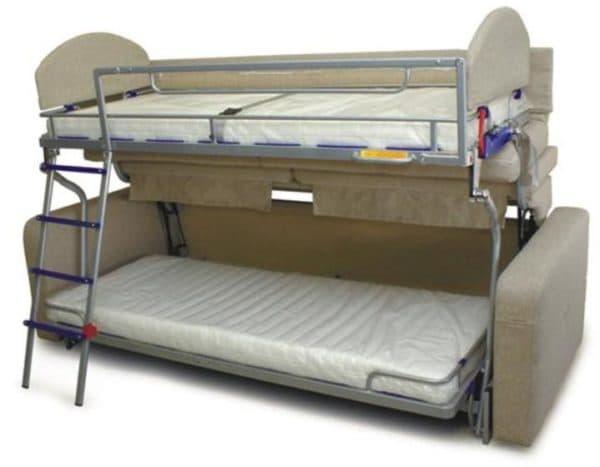 Металлическая д х ярусная кровать диван