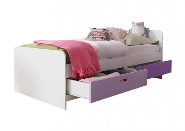 кровать белая с ящиками для хранения